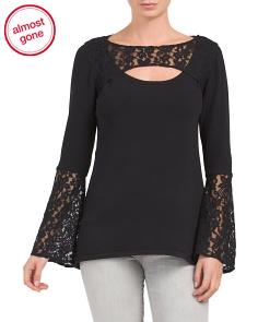 Lace Peek A Boo Neck Top