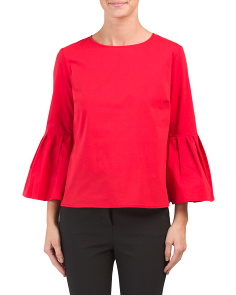 Scoop Neck Pleated Sleeve Blouse