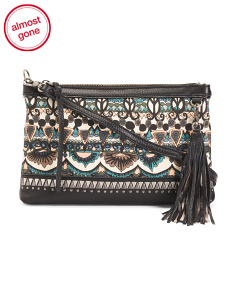 Fabric And Leather Crossbody