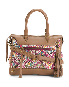 Printed Fabric And Leather Satchel