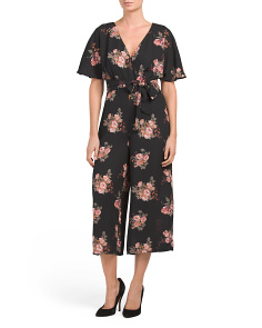 Juniors Wrap Printed Jumpsuit