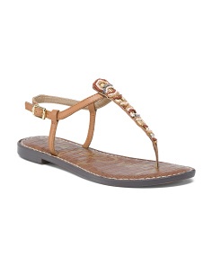 Flat Beaded Leather Sandals