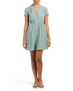 Pleated Front Shirt Dress