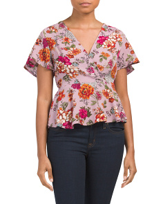 Juniors Floral Wrap Top