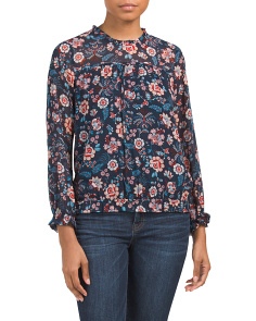 Juniors Ruffle High Neck Floral Top