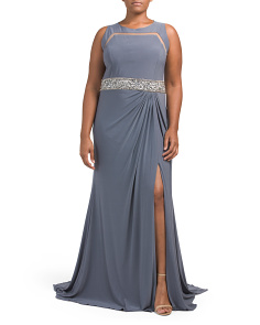 Plus Long Dress With Embellished Waist