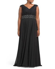 Plus Gown With Embellished Waist