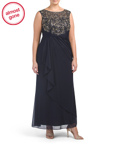 Plus Lace Bodice Gown