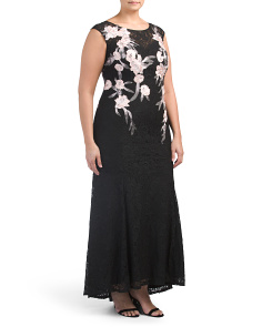 Plus Floral Embroidered Gown