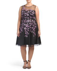 Plus Floral Embroidery Mesh Cocktail Dress
