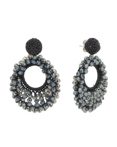 Faceted Stone Crochet Earrings
