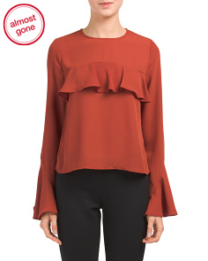 Juniors Bell Sleeve Ruffle Top
