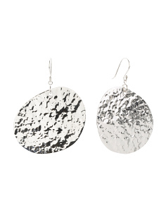 Handmade In India Sterling Silver Hammered Disc Earrings
