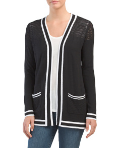 Cardigan With Contrast Stripe Trim
