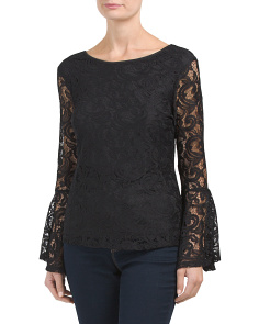 Sheer Arm Lace Bell Sleeve Top