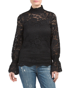 Sheer Lace Smocked Top With Tank