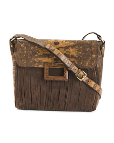 Lizard And Camo Leather Crossbody