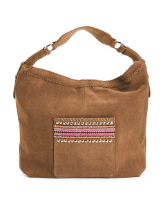 Suede Hobo With Beaded Accents