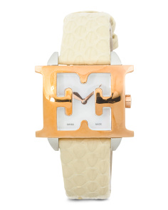 Women's Swiss Made Estelle Logo Case Leather Strap Watch