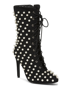 Pearl Embellished Lace Up Booties