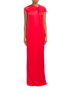 Liquid Crepe Gown With Drape Front