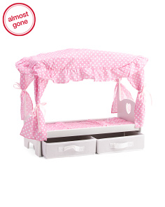Kids Doll Canopy Bed With Storage