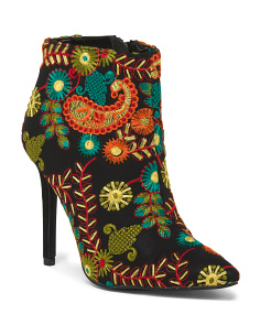 Embroidered Pointy Toe Booties