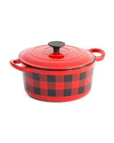 5qt Checkered Cast Iron Dutch Oven