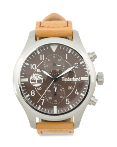 Men's Multifunction Madbury Leather Strap Watch