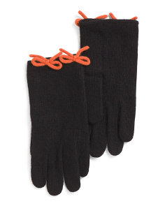Cashmere Gloves With Bows
