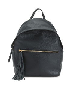 Made In Italy Leather Backpack With Tassel