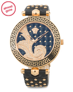 Women's Swiss Made Vanitas Diamond Bezel Leather Strap Watch