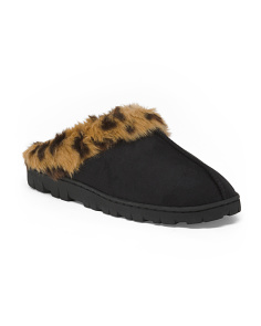 Microsuede Clog Slippers With Faux Fur