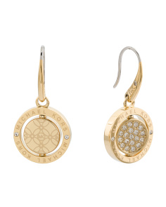 Pave Crystal Halo Drop Earrings In Gold Tone