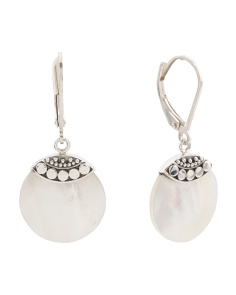 Made In Bali Sterling Silver Beaded Mother Of Pearl Earrings