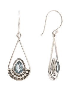 Made In Bali Sterling Silver Blue Topaz Teardrop Earrings