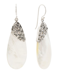 Made In Bali Sterling Silver Mother Of Pearl Earrings