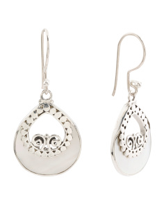 Made In Bali Sterling Silver Mother Of Pearl Open Earrings