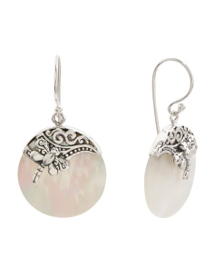 Made In Bali Sterling Silver Mother Of Pearl Disc Earrings