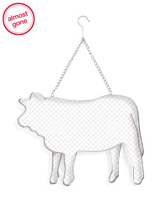 Metal And Wire Hanging Cow Decor
