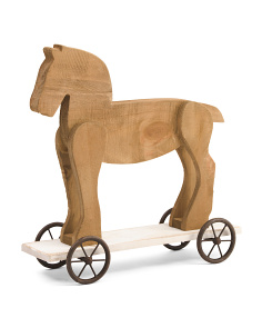 Wooden Horse On Wheels Decor
