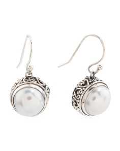 Made In Bali Sterling Silver Pearl Drop Earrings