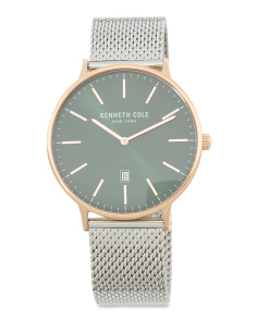 Men's Two Tone Mesh Strap Watch