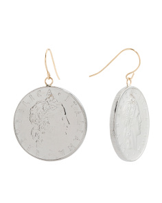 Made In Italy 14k Gold 50 Lire Coin Earrings
