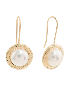 Made In Italy 14k Gold 8mm Pearl Earrings