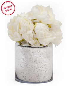 12in Faux White Peony In Glass Pot
