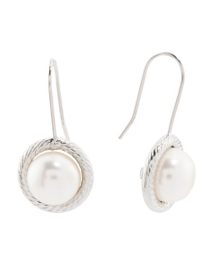 Made In Italy 14k White Gold 8mm Pearl Earrings