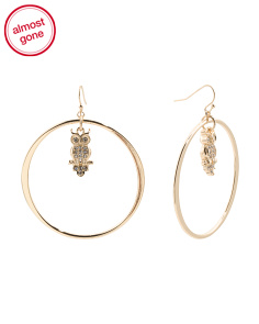 Frontal Hoops With Crystal Owl Charm