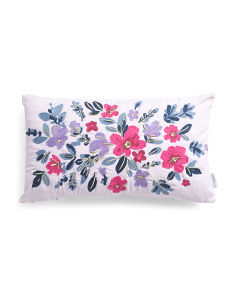 14x24 Floral Crewel Stitch Pillow