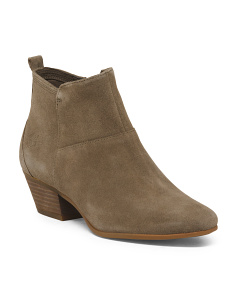 Side Zip Suede Ankle Booties